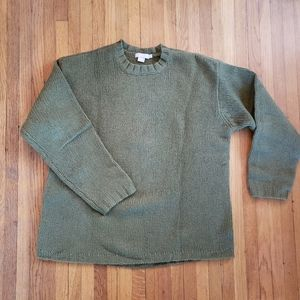 Vintage J. Crew Wool Sweater in Olive Green, Large